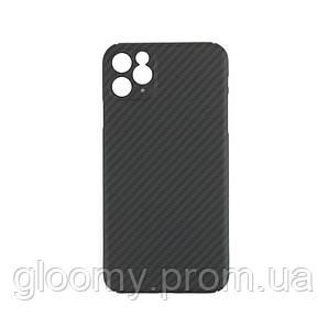 Карбоновий чохол - накладка для Apple iPhone 11 pro Max з закритою камерою Black