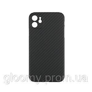 Карбоновий чохол - накладка для Apple iPhone 11 із закритою камерою Black