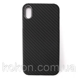 Карбоновий чохол - накладка для Apple iPhone XS Black