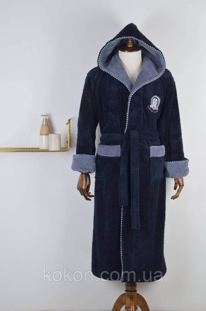 Халат мужской  Massimo Monelli ( 0004) синий с cерым капюшоном