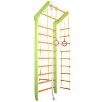 Спортивная Гимнастическая Шведская стенка из сосны для дома, спортзала, до 120кг, зелено-оранжевая 80х55х230см