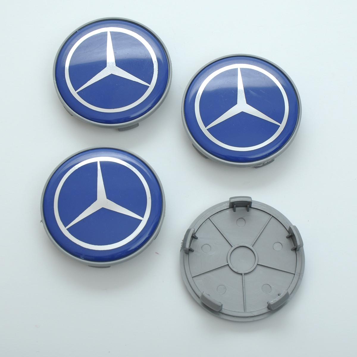 Колпачки на диски Mercedes 65/60мм синие/хром. пластик гладкий-силикон логотип (4шт)