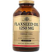 Льняное Масло, Flaxseed Oil, Solgar, 1250 мг, 250 гелевых капсул