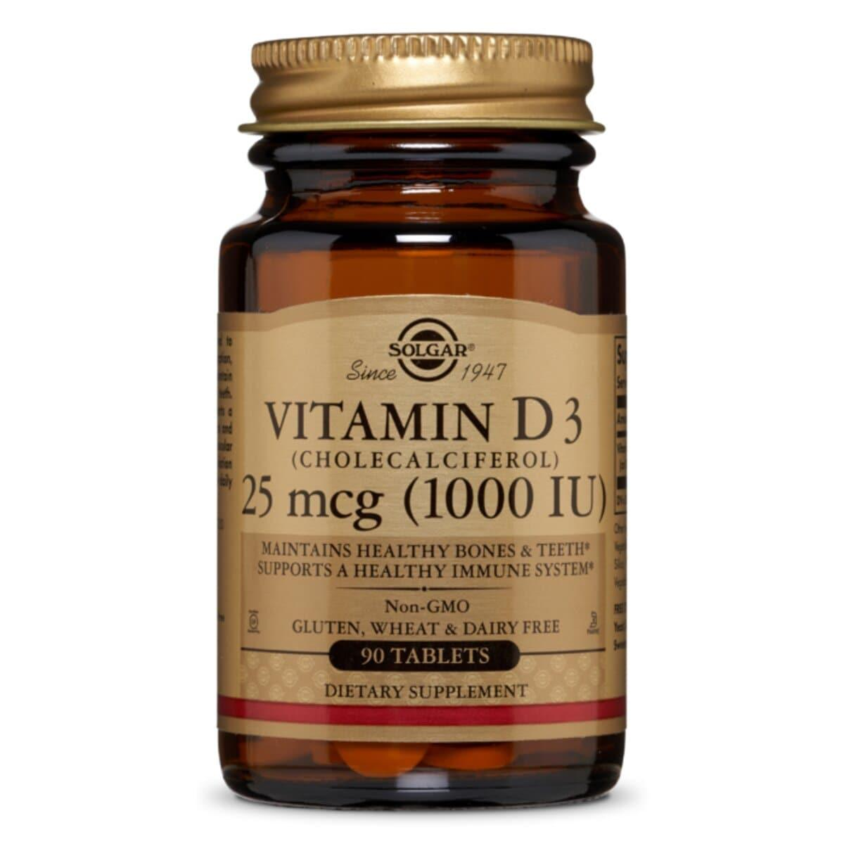 Витамин D3, Холекальциферол, Cholecalciferol, 25 мкг, 1000 МЕ, Solgar, 90 таблеток