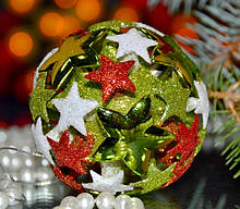 Елочная игрушка шар Звездочки 2 3D SKL11-209595