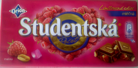 Молочный шоколад STUDENTSKA PECET с малиной, 180 гр, фото 2