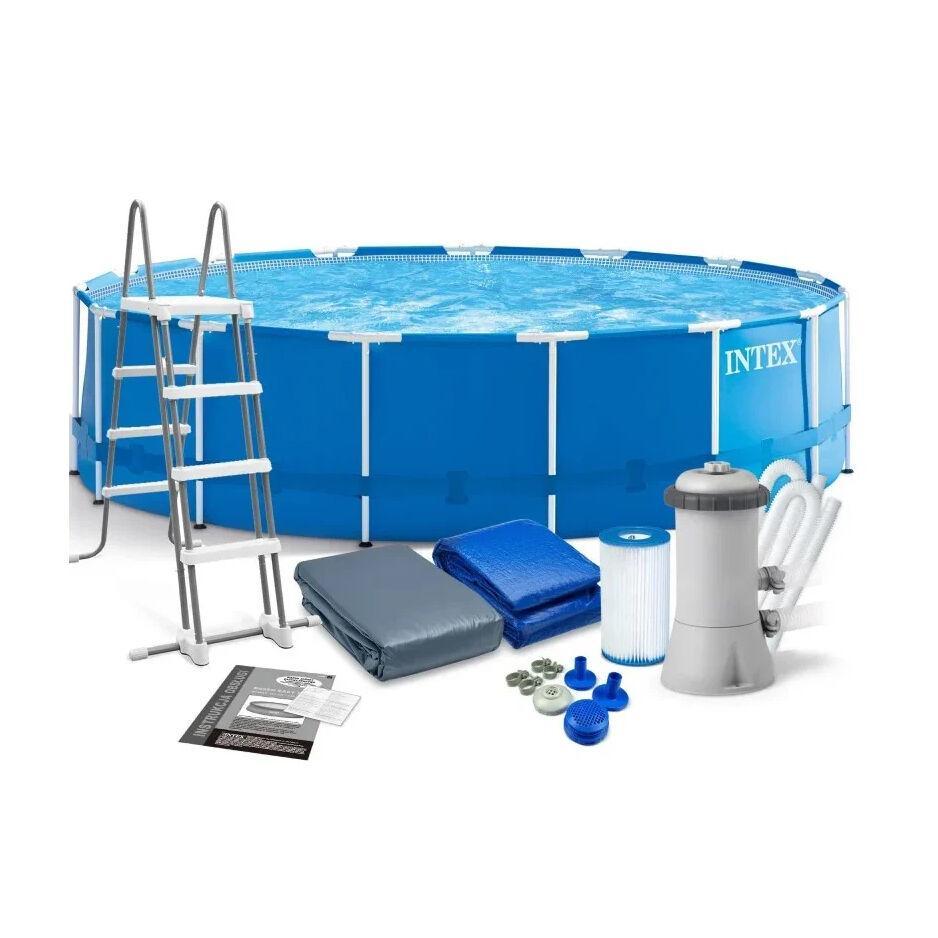 Сборно-разборной круглый каркасный бассейн Intex 28242 NP ( 457*122 см ) + лестница, тент, подстилка, фильтр