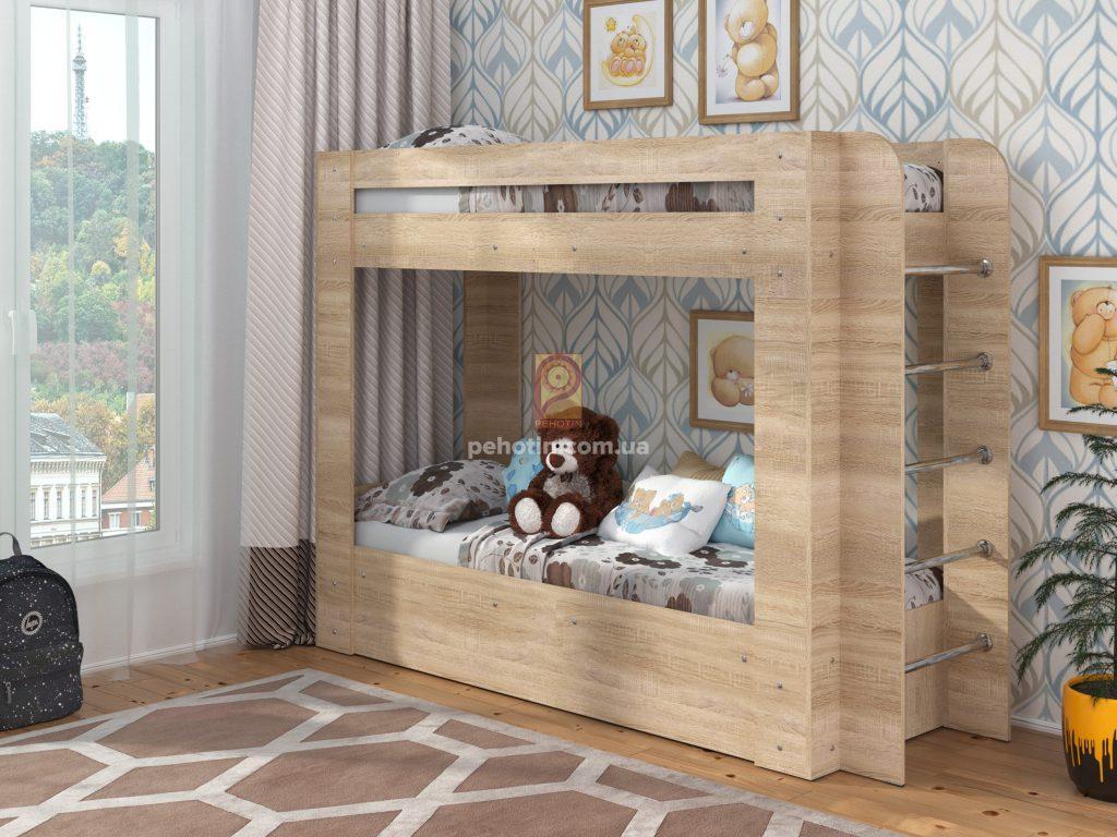 Детская двухярусная кровать с ящиком для белья Олимп,