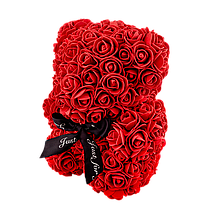 Мишко з 3D троянд 25 см червоний