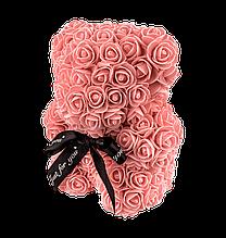 Мишко з 3D троянд 25 см кораловий