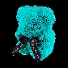 Мишко з 3D троянд 25 см бірюзовий