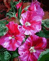 Картина малювання за номерами Mariposa Яркие мальвы MR-Q2183 40х50 см Цветы, букеты, натюрморты набор для росписи краски, кисти,