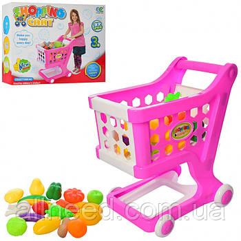 Іграшковий візок з продуктами рожева