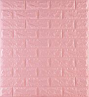 3D панелі Самоклеючі Рожевий цегла 700х770х7мм