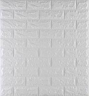 3D панелі Самоклеючі Білий цегла 700x770x7 мм