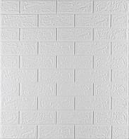 3D панелі Самоклеючі Білий цегла 700x770x5 мм