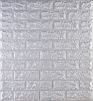 3D панелі Самоклеючі Цегла срібло 700х770х7мм