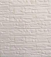 3D панелі Самоклеючі Рваний білий цегла 700х770х8мм