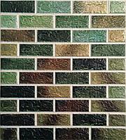 3D панелі Самоклеючі Цегла зелений мікс 700х770х5мм