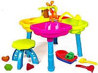 Столик для песка с аксессуарами Kinderway, Детский Столик для песка со стульчиком и пасками 01-122