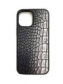 Чехол для iPhone 12 Чехол цвета металлик из Телячьей кожи тиснёной под Крокодила