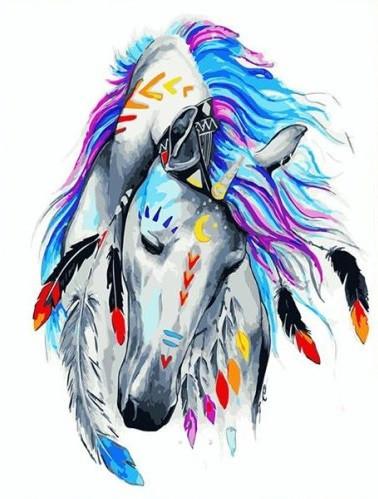 Картина за номерами Brushme Кінь індиго GX23671