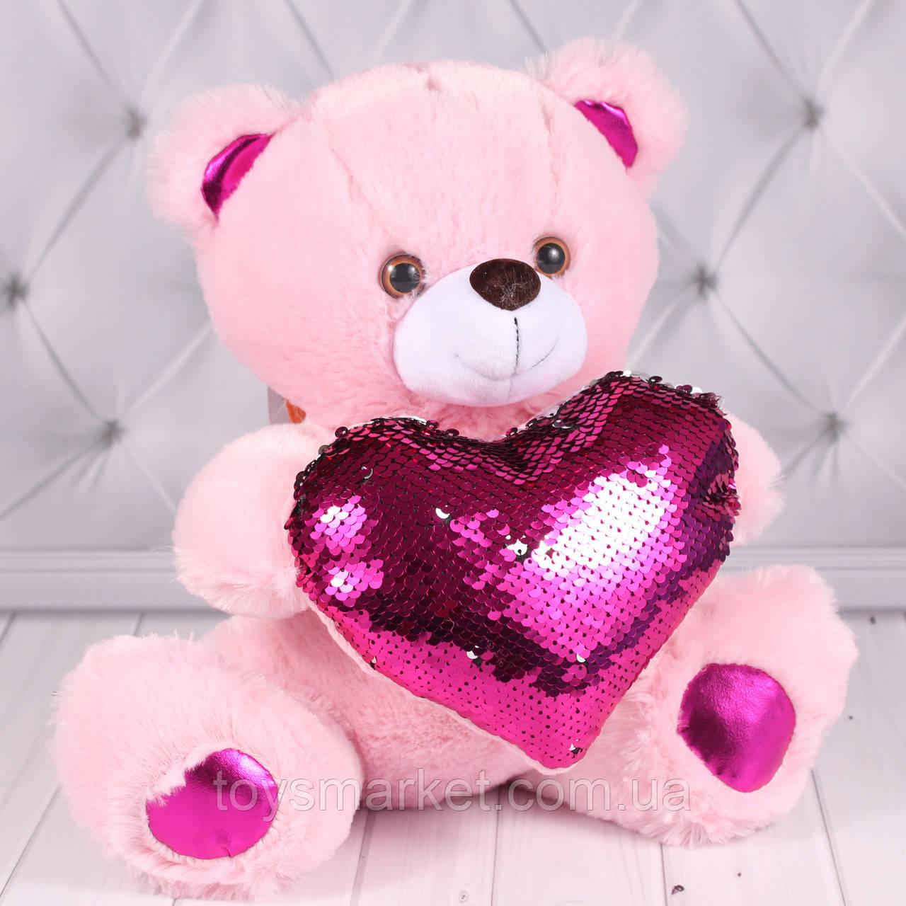 Мягкая игрушка мишка с сердцем, плюшевый медвежонок, 30 см