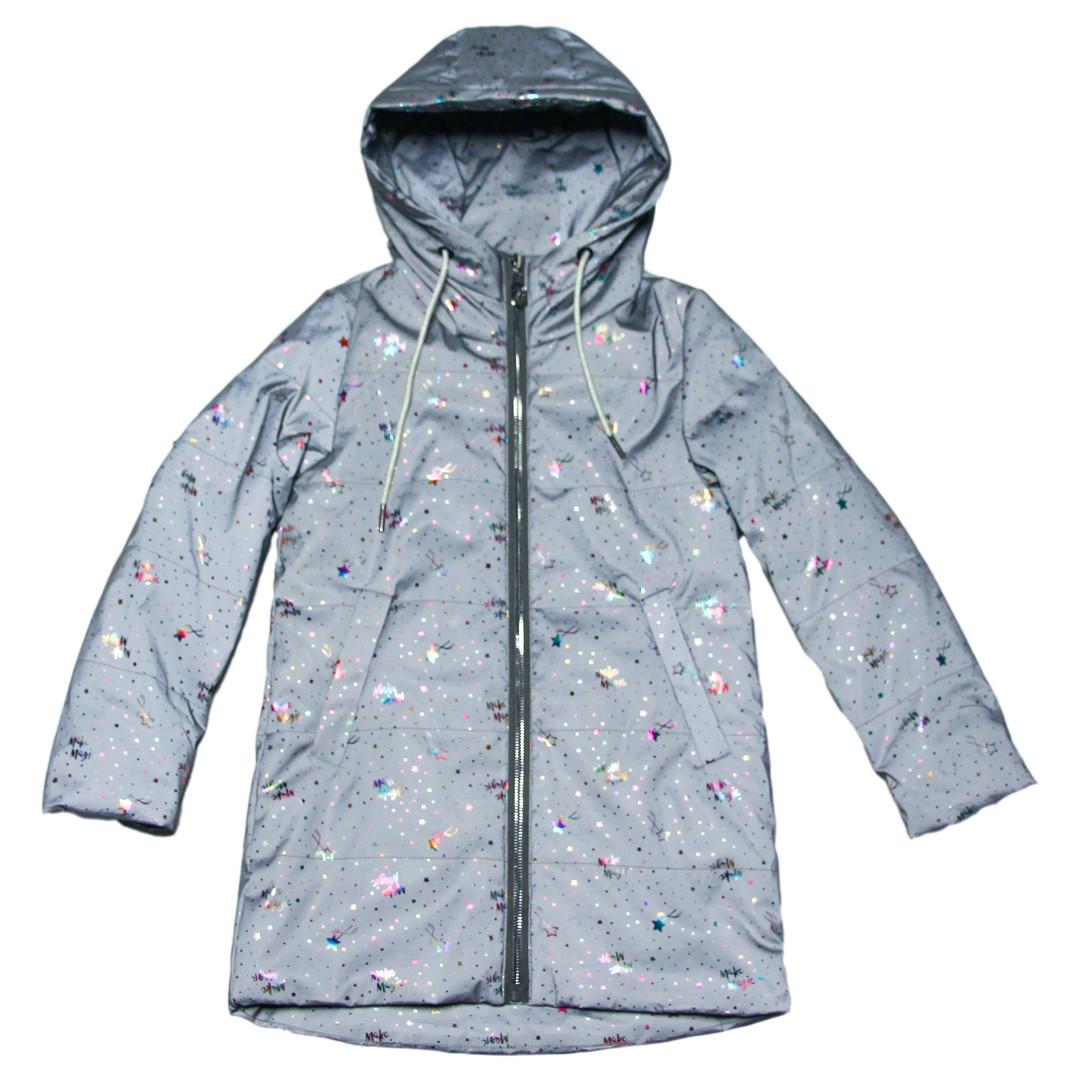 Світловідбиваюча куртка весняна для дівчинки 122-134 зросту сіра