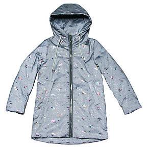 Світловідбиваюча куртка весняна для дівчинки 122-134 зросту сіра, фото 2