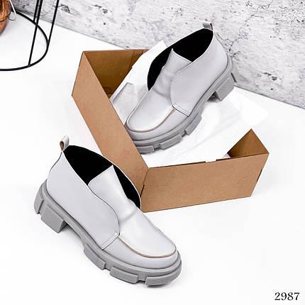 Высокие лоферы туфли серые кожа, фото 2