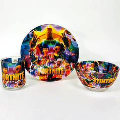 Набор детский стеклянной посуды для кормления Fortnite 3 предмета Metr+