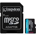 Карта памяти Kingston microSDXC 256Gb Canvas Go Plus UHS-1 U3 (R-170 Mb/s, W-90 Mb/s) + Adapter SD