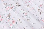 """Ранфорс шириной 240 см """"Розы с птичками, зайчиками и белочками"""" на белом фоне (№3242), фото 5"""