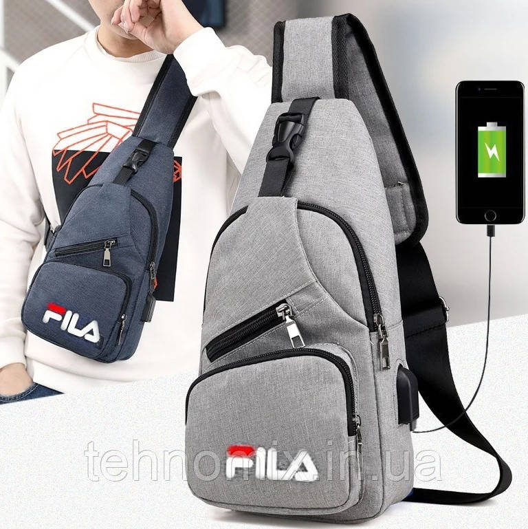 Мужская сумка слинг через плечо с USB фила fila размер 34х16х10. Сумка-рюкзак мессенджер