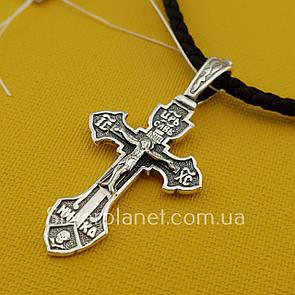 Комплект! Серебряный крестик с жестким ушком на шелковом шнурке. Черненый крест на шнуре с серебряным замком