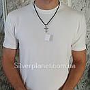 Комплект! Срібний хрестик з жорстким вушком на шовковому шнурку. Чорніння хрест на шнурі з срібним замком, фото 4