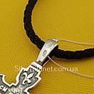 Комплект! Срібний хрестик з жорстким вушком на шовковому шнурку. Чорніння хрест на шнурі з срібним замком, фото 6