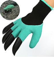 Прорезиненные перчатки с когтями Garden Genie Gloves для работы с землей с пластиковыми наконечниками для сада