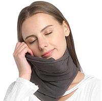 Дорожная подушка-шарф Travel Pillow для путешествий в дорогу и для сна серого цвета для перелетов.