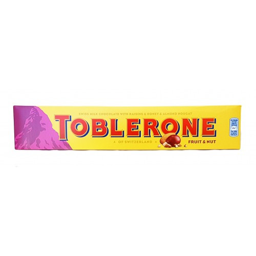 Шоколад молочный Toblerone Frut & Nut (изюм, нуга из меда, орех-миндаль), 100г (Швейцария)
