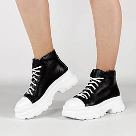 Ботинки женские кожаные черные спортивные MORENTO демисезонные