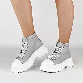 Ботинки женские кожаные серые спортивные MORENTO демисезонные