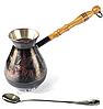 Мідна карбована турка Пегас black 480 мл на дві чашки + довга ложка