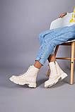 Черевики жіночі шкіряні молочного кольору на шнурках і з замком, фото 5