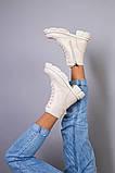 Черевики жіночі шкіряні молочного кольору на шнурках і з замком, фото 9