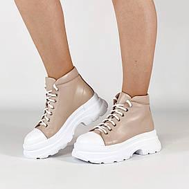 Ботинки женские кожаные бежевые спортивные MORENTO демисезонные