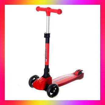 Детский трехколесный складной самокат Best Scooter  5473  со светящимися колесами Черный с красным