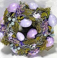 Великодній віночок для пасхального декору 25 см лаванда, фото 1
