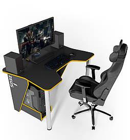 Геймерский игровой стол ZEUS IGROK-3 Черный/Желтый