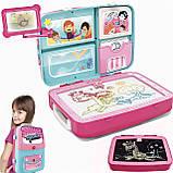 Детский обучающий набор для рисования Backpack packing 3in1   Рюкзак для творчества с магнитной доской розовый, фото 2